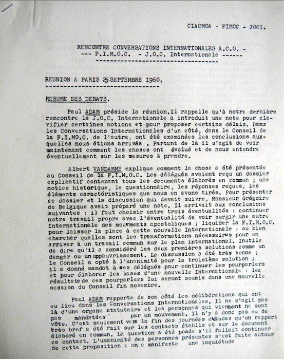 FIMOC-ACO-JOCI 25 09 1960